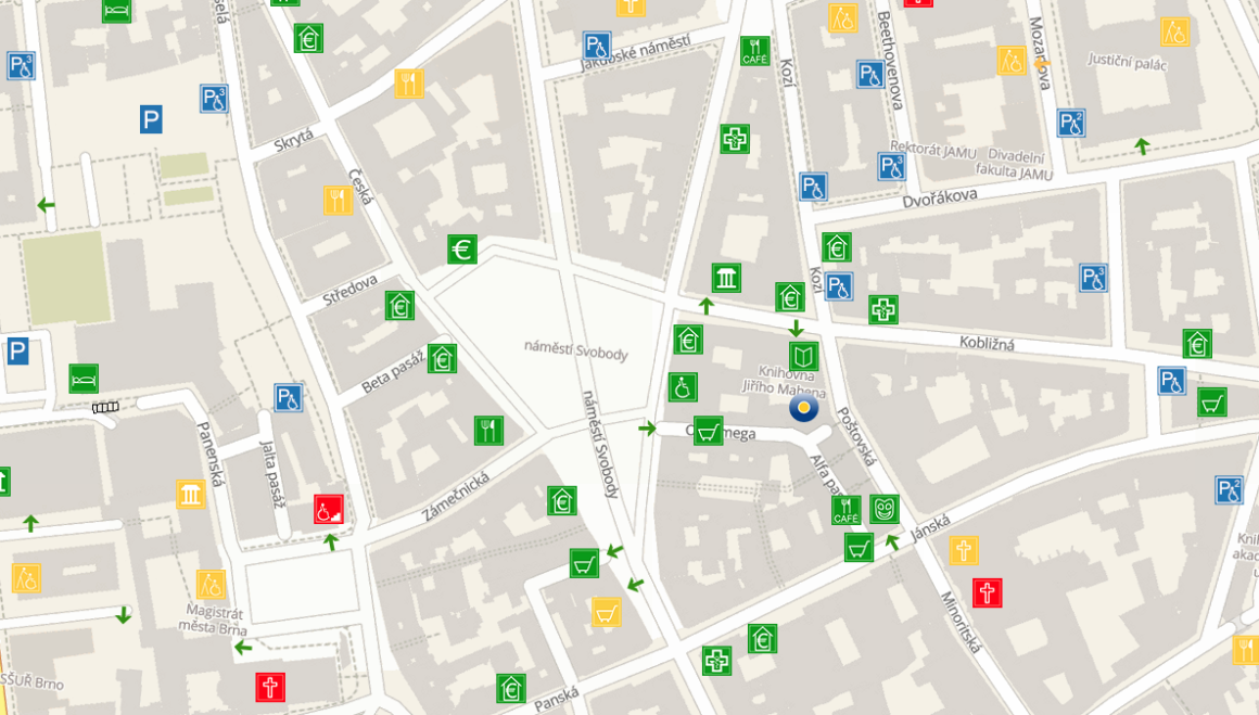 Mapa přístupnosti Brna